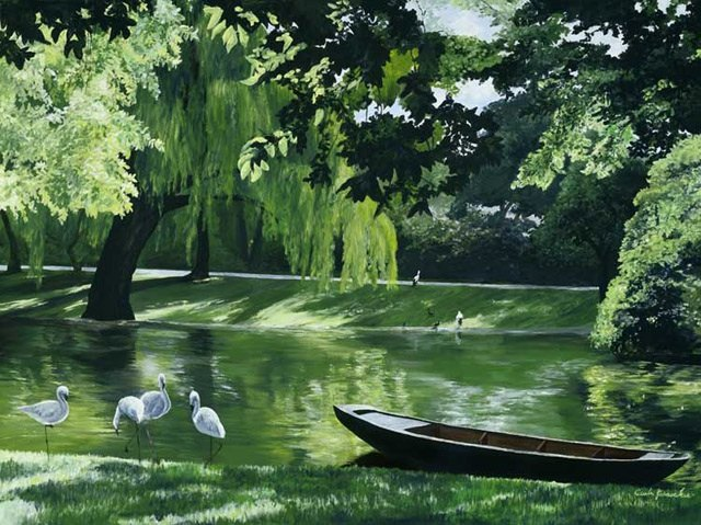 Painting of Strauss Park by Carla Keesecker